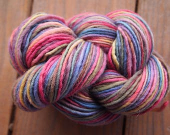 Clearance Handpainted Yarn Wool Mohair 160yards 3.1 ounces Worsted Weight Knitting Aspenmoonarts Hand Painted Blue Pink CWM032A Felting