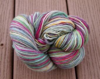 Clearance GEMSTONE RAINBOW Handspun Wool Yarn Cheviot 357yds 3.1oz 10-12wpi aspenmoonarts worsted heavy sport artyarn knitting