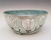Magnolia flower serving bowl, medium centerpiece bowl, salad bowl, fruit bowl