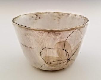 floral ceramic ramen bowl, soup bowl, handmade stoneware bowl, cream and white pottery