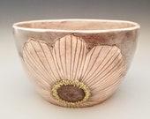 Flower serving bowl, medium centerpiece bowl, salad bowl, fruit bowl