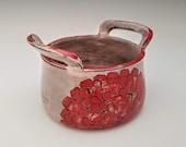 Zinnia flower ceramic container, handled pot, modern pottery