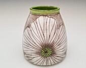 Poppy Flower Ceramic Bud Vase, Bottle Vase, Modern Pottery