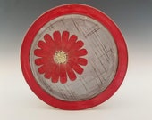 Large Red Cosmos Flower Plate, Flower Platter, Serving Plate, Appetizer Plate, Serving Tray