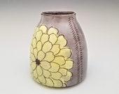 Dahlia flower ceramic bud vase, bottle vase, desk vase, pottery vase