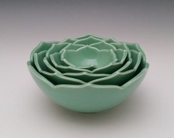 Ceramic Nesting Bowls, Five Nesting Lotus Bowls, Serving Bowls Set of Five Green Bowls or Your Choice of Color