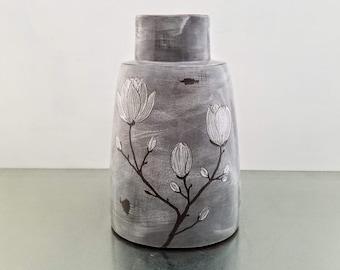 Large ceramic vase, modern statement vase, magnolia branch vase