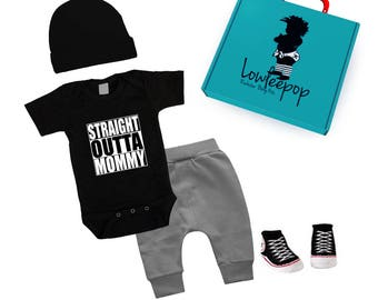 0e22359872128 ROCKSTAR BABY KIT Straight out of mommy black one piece, grey pants, hat,  booties & optional gift box