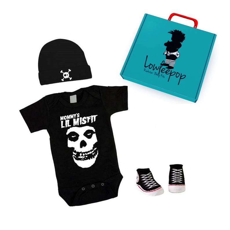 ROCKSTAR BABY KIT Mommy's Lil Misfit black one piece image 0