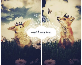 Woodland Fantasy Animal Art Print, Any 2 Large Little Prince Prints, Your Choice SALE