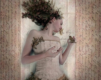 Sparrow, 5x5 Inch Print, Autumn Woodland Fantasy Art Print