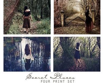 Secret Places, Set of Four Fantasy Art Prints - Woodland Magic, Art Wall Grouping