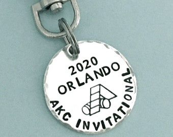 2020 AKC Invitational Commemorative Charm - Hand Stamped Sterling Silver - Dog Agility - Canine Agility