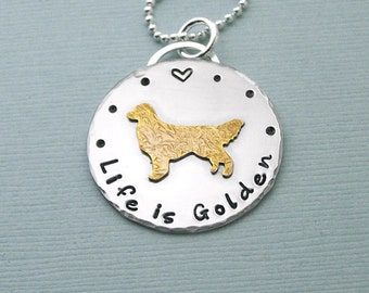 Golden Retriever Necklace - 14K Gold Filled and Sterling Silver - Life is Golden
