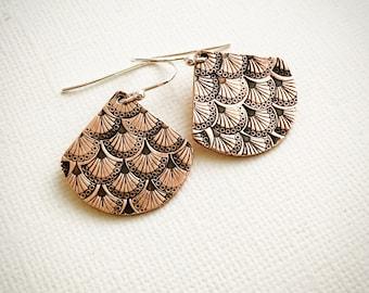 Art Deco Fan Motif Hand Stamped Copper or Sterling Silver Earrings