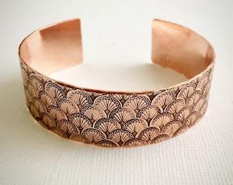 Art Deco Fan Motif Hand Stamped Copper Cuff Bracelet