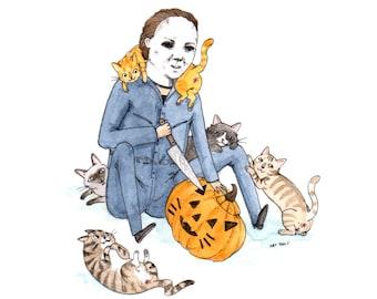 "Meowlloween - 5x7"" Halloween with Cats Horror Print"