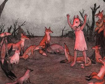 "The Council Convenes 8x10"" Dark Art Fox Print"