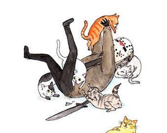 "Friday the Purrteenth - 5x7"" Jason with Cats Halloween Print"