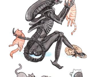 "Extra-purrestrial - 5x7"" Alien Print"