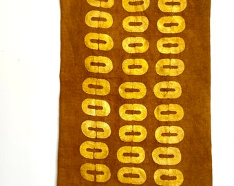 Ovals Hand Patterned, Dyed, and Embroidered Linen Wallhanging