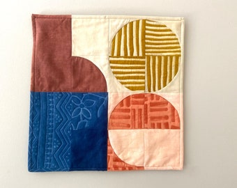 H O P E Hand Dyed and Patterned Cotton and Linen Mini Quilt