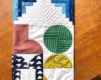 H O M E Hand Dyed and Patterned Cotton Mini Quilt