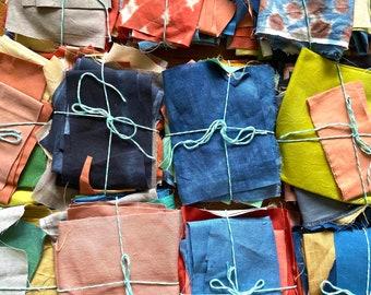 Hand Dyed Linen and Cotton Scrap Bundles