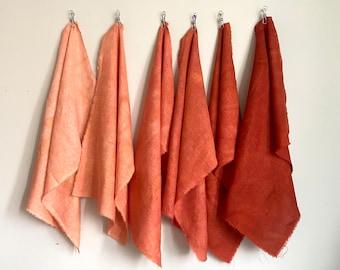 Hand Dyed Gradient Linen Bundle in Rust
