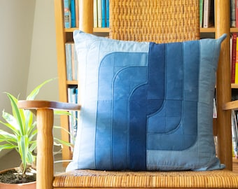 Coil Patchwork Pillow Cover in Shades of Indigo