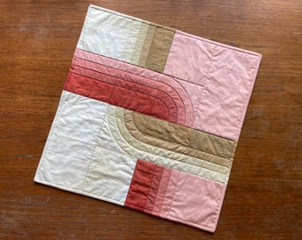 Double Coil Hand Dyed Quilt in Shades of Terracotta and Desert
