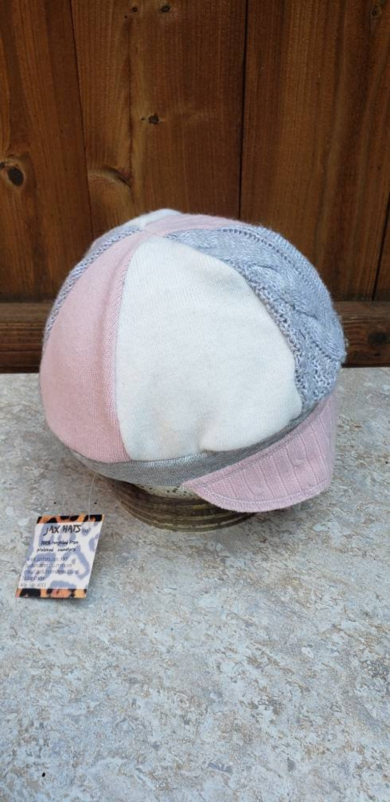 mixed fabrics hat photo prop Jax Hat Child size chemo alopecia cap pinkgrey hat upcycled cap upcycled sweater hat girl Montana