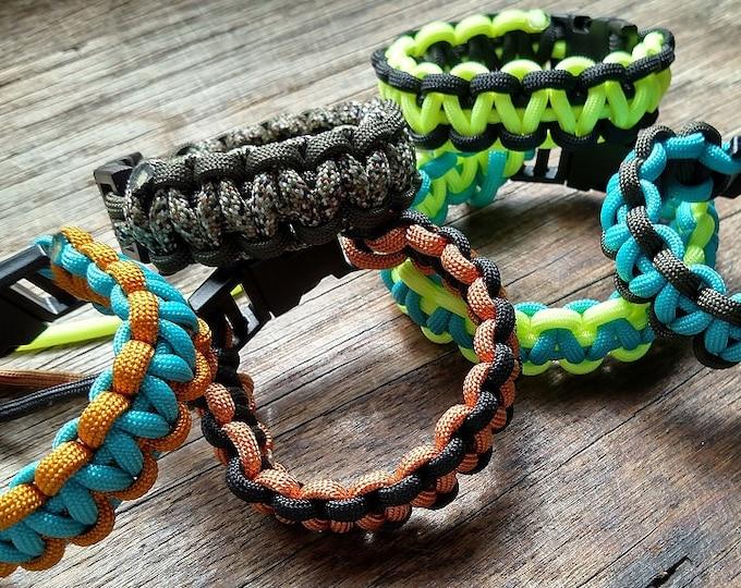 Paracord Bracelet with Parachute Cord Clips - Custom: You Choose Color & Size