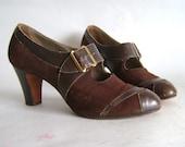 Sz 6 Vintage 1940's Brown Leather n Suede Pumps