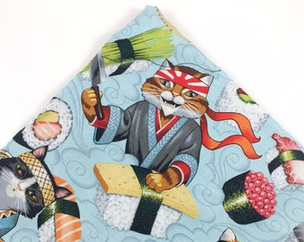 Sushi Chef Cats Organic Catnip Mat Toy By For Mew, Refillable, Washable, Cat Bed, Cat Furniture, Gift For Cat Lovers, Neko