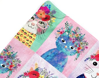 Cats With Flower Crowns Organic Catnip Mat Toy By For Mew, Refillable, Washable, Cat Bed