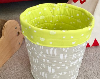 Cats And Friends Toy Basket, Pet Toy Storage Bin, Cat Lady Cat Lover Gift