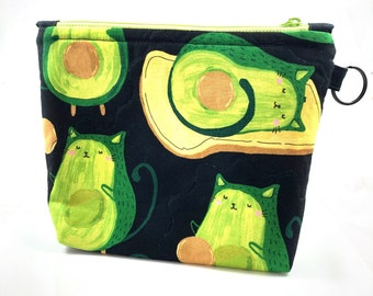 AvoCATo Avocado Cats Zipper Pouch By For Mew, Cat Lover Gift