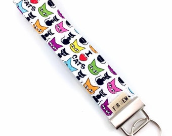 I Love Cats Key Fob For Mew Cat Lover Key Chain, Gift For Cat Lover