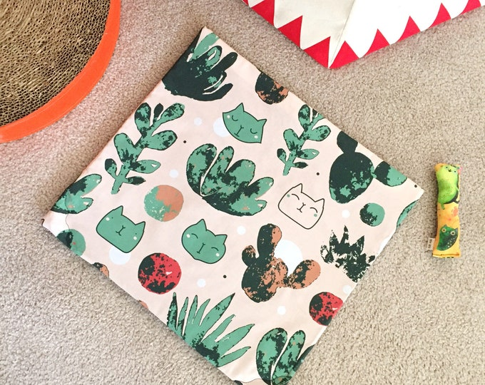 Featured listing image: Catcus Cats & Cactus Organic Nip Mat Toy By For Mew, Refillable, Washable, Cat Bed, Cat Furniture, Gift For Cat Lovers