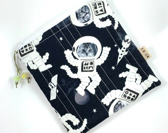 Space Cats Glow In The Dark Zipper Pouch By For Mew, Cat Lover Gift