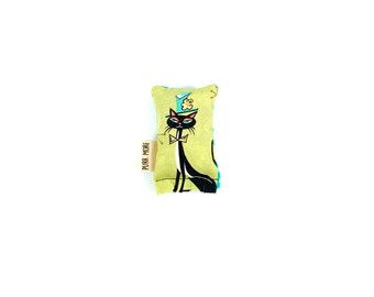 Top Hat Tuxedo Cat Green Bean Organic Catnip Eco Friendly Cat Toy For Mew, Gift For Cat Lover