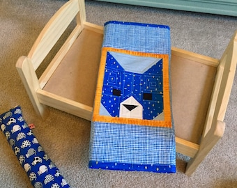 Blue Cat Quilt Blanket For Mew, Cat Bedding, Cat Lady Cat Lover Gift