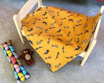 Safari Animals Quilt Blanket For Mew, Cat Bedding, Cat Lady Cat Lover Gift
