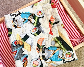 Sushi Cats Quilt Blanket For Mew, Cat Bedding, Cat Lady Cat Lover Gift