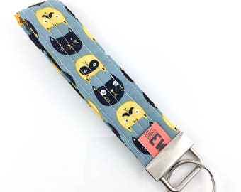 Black And Yellow Cats Key Fob For Mew Cat Lover Key Chain, Gift For Cat Lover