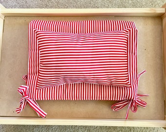 Red Stripey Mattress And Pillow Set By For Mew, Ikea Cat Doll Bed Bedding, Cat Lover