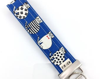 White Cats Key Fob For Mew Cat Lover Key Chain, Gift For Cat Lover