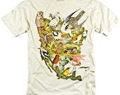 Birds of North America Collage Audubon Painting Colorful Graphic T-shirt (S,M,L,XL,XXL available)