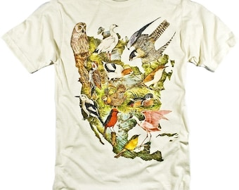 Birds of North America Colorful Collage Illustration Graphic T-shirt (S,M,L,XL,XXL available)